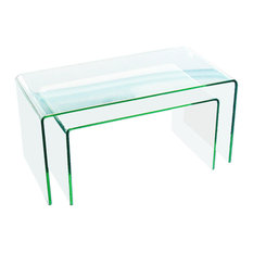 Fab Glass And Mirror - Clear Bent Glass Nest Tables, 3/8'' Thick, 2 Pieces - Coffee Table Sets