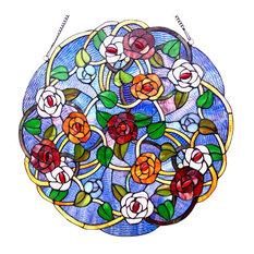 """SHREVEPORT, Tiffany-glass Roses Window Panel, 24"""""""