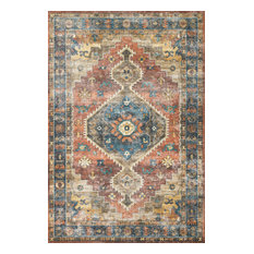 "Rust Blue Printed Polyester Skye Area Rug by Loloi II, 3'6""x5'6"""