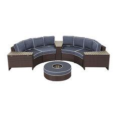 Riviera Otranto Patio Semicircular Sectional, Waterproof Cushions, 8 Piece Set,