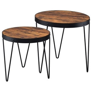 Coaster 2 Piece Round Nesting Accent Table Set in Honey Cherry