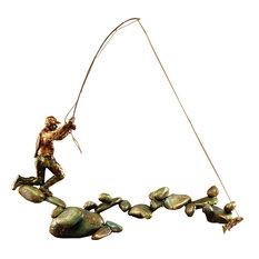 Fishing Bronze Sculpture Boulder Creek