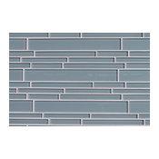 Jasper Blue Random Strip Glass Mosaic Tile, Sample