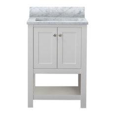 "Wilmington 24"" Bathroom Vanity With Carrera Marble Top, White"