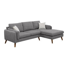 Founders Cotton Blended Fabric Sectional Sofa, Light Gray