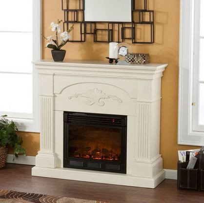 Holly and Martin - Salerno Electric Fireplace Cabinet Mantel Package in  Ivory - 37-213 - Electric Fireplace Mantel Packages