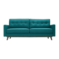 Upholstered Tufted Fabric Sofa With Splayed Rubberwood Frame Teal