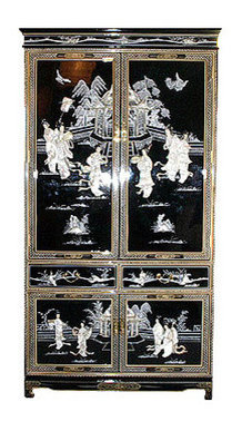 Ordinaire Oriental Armoire, Black Lacquer Hand Painted And Inlaid With Mother Of Pearl