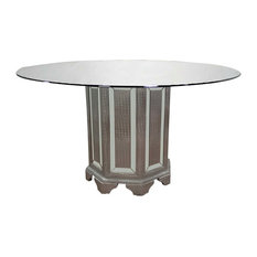 Tuxedo Mirrored 60 Inch Round Dining Table Silver