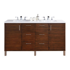 Metropolitan Double Vanity, 3 cm. Snow White Quartz Top, No Mirrors