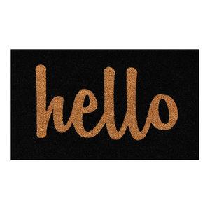 """Hello Doormat Black/Natural Script 17""""x29"""""""