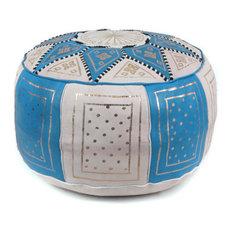 Golden Fez Stuffed Pouf, Blue, Round Shape