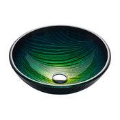 Kraus Nature Series Round Green Glass Vessel Bathroom Sink