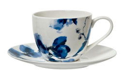 Linea Watercolor Floral Teacup and Saucer
