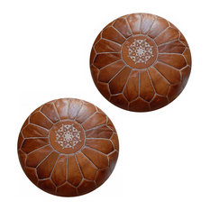 Set Of 2 Moroccan Leather Poufs, 2 Rustic Brown, Stuffed