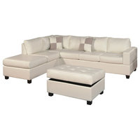 Bonded Leather 3-Piece Modern Reversible Sectional Sofa, White