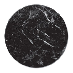 Tempered Glass Lazy Susan Black Marble
