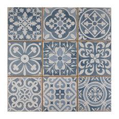 "13""x13"" Faventia Ceramic Floor/Wall Tiles, Blue"