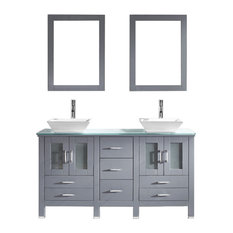 60-inch Double Bath Vanity In GreyAqua Tempered Glass TopSinkFaucetMirrors