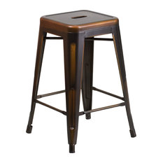 "Flash Furniture - High Backless Distressed Metal Indoor-Outdoor Counter Height Stool, 24"" - Bar Stools and Counter Stools"