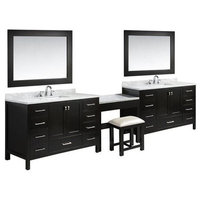 "84"" London Single Sink Vanity With Make Up Table, Espresso"