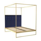Federico Double Canopy Bed, Midnight Blue Velvet, Brass Base