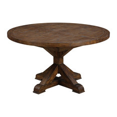 Barrera Round Dining Table, Rustic Pine