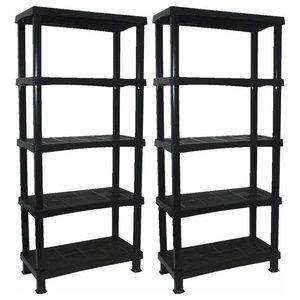 Modern Set of 2 Display Shelving Units, Black Plastic With 5 Open-Compartment