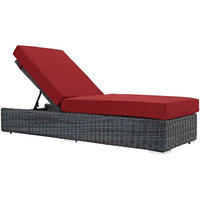 Modern Outdoor Lounge Chair Chaise, Sunbrella Rattan Wicker, Red