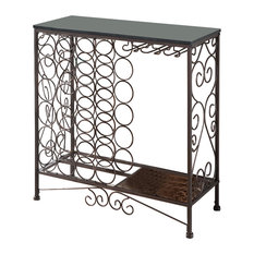 Richilde Console Table With Wine Rack, Marble and Bronze