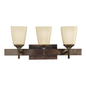 3-Light Bath Fixture, Marbled Bronze, Distressed Umber Etc
