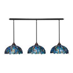 "3 Light Mini Pendant In Dark Granite, 16"" Blue Mosaic Tiffany Glass"