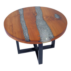 vidaXL Teak Resin Coffee Table, 60 cm