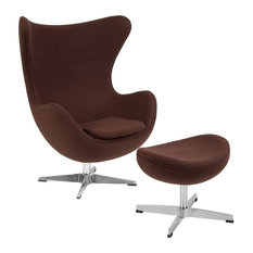 Flash Furniture - Flash Furniture Brown Wool Fabric Egg Chair With Tilt-Lock Mechanism and Ottoman - Armchairs and Accent Chairs