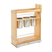 """Base Cabinet Organizer With 3 Utensil Bins, Natural, 8""""w X 21.625""""d X 25.5""""h"""