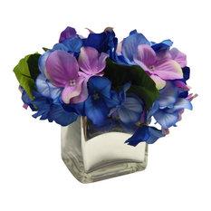 Faux Floral Arrangement With Mercury Glass Vase, Blue