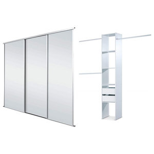 Wardrobe With Mirrored Frame and Triple Sliding Doors for Comfort, Modern Style