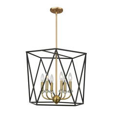 Harmony 6-Light Chandelier, Black and Satin Brass