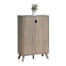 Furniture 5 Tier Dark Taupe Black Shoe Storage Cabinet