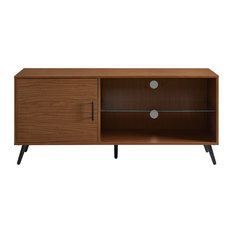 """52"""" TV Stand With Black Legs, Pecan"""