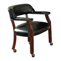 Steve Silver   Steve Silver Tournament Game Chair On Casters In Black   Dining  Chairs