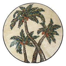 """Medallion Mosaic Art, Intertwining Palms, 24""""x24"""""""