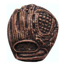 Baseball Glove Cabinet Knob, Antique Brass, Antique Copper