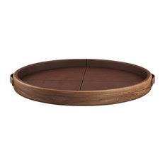 Maxwell Walnut and Leather Serving Tray