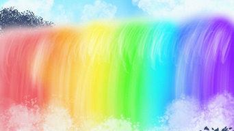 DigitalArt Regenbogen Wasserfall
