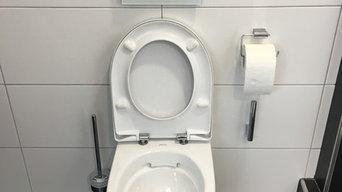 Badsanierung mit Dusche, Einbauschrank vom Schreiner, Aufsatzwaschbecken