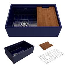 Bocchi Contempo 30 Blue Fireclay Farmhouse Sink Single Bowl Step Rim