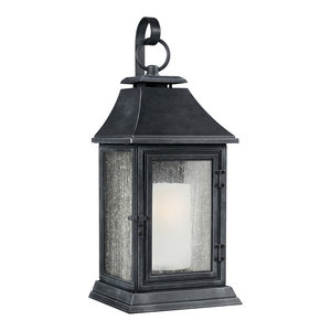 Outdoor Traditional Wall Lantern, Antique Silver, Large