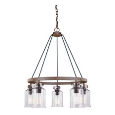 Milone 5-Light Chandelier Textured Rustic Bronze