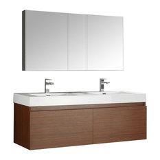 "Mezzo 60"" Teak Wall Hung Double Sink Modern Bathroom Vanity, FFT9151CH"